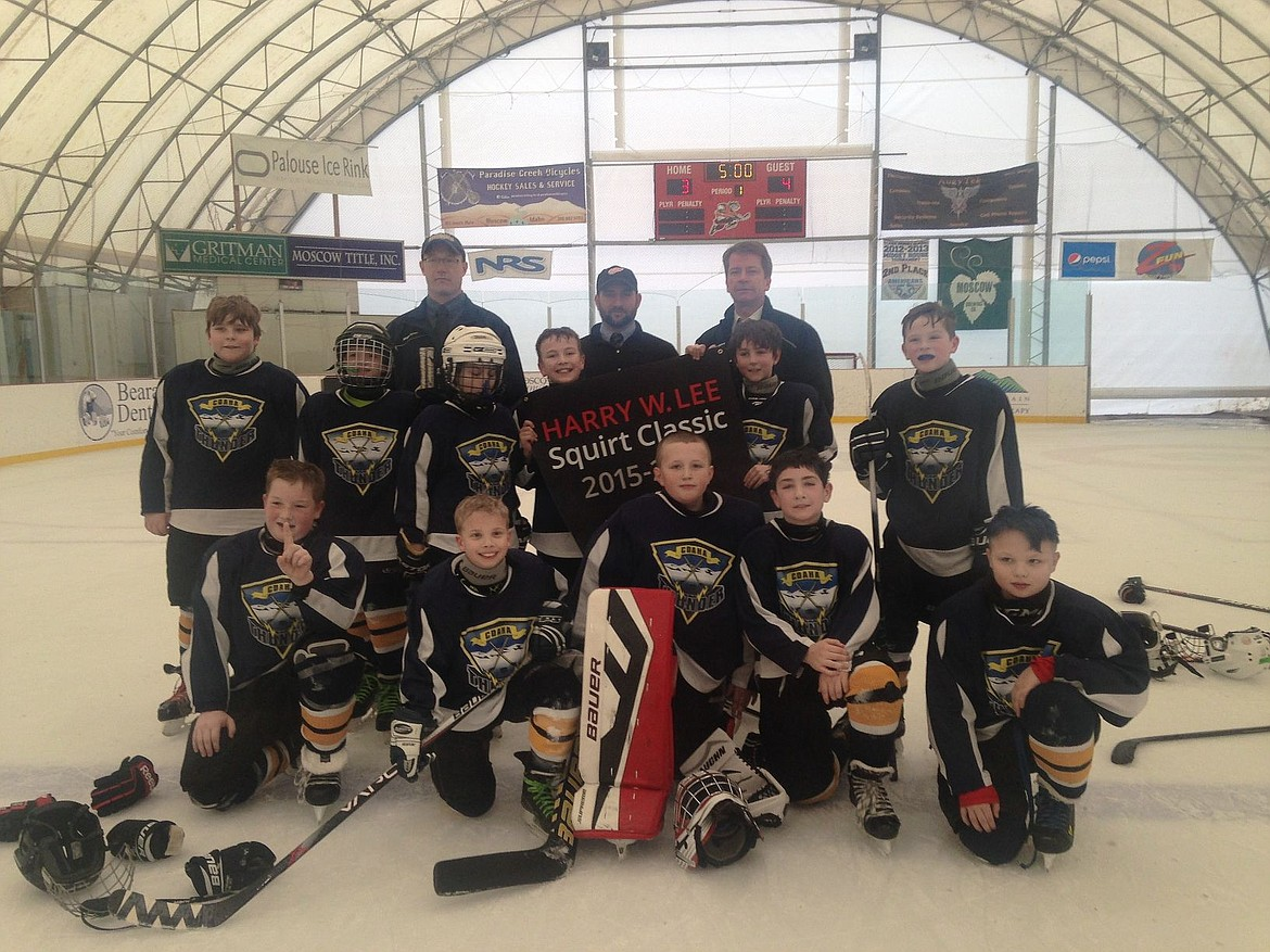 <p>Courtesy photo</p><p>The Coeur d'Alene Thunder Squirt 1 team (age level 10-and-under) took first place at the Harry W. Lee tournament in Moscow. The Thunder beat McCall 5-2, tied Spokane 4-4, beat Lewiston 4-1, and beat Tri-Cities 4-3 in the championship game. In the front row from left are Curtis Anderson, Matthew Russell, Hunter Nelson, Calvin Coppess and Colby Strong; middle row from left, Brady Veach, Riley Miller, Joseph Hartnett, Isaac Erickson, Eoin Eddy and Jared Greiner; and back row from left, coaches Stuart Anderson, Bruce Coppess and Todd Greiner.</p>