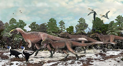 <p>AP Photo/Beijing Institute of Vertebrate Paleontology and Paleoanthropology, Brian Choo This artist concept provided by the Beijing Institute of Vertebrate Paleontology and Paleoanthropology shows Y. huali and other smaller dinosaurs roaming 125 million years ago. A new study published in the journal Nature found that Y. huali, an earlier relative of T. rex, had a feathery coat, suggesting that the king of dinosaurs may have also been fuzzy.</p>