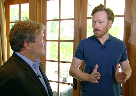 """<p>In this image taken from video and released by CBS, former """"Tonight Show"""" host Conan O'Brien, right, talks with """"60 Minutes"""" correspondent Steve Kroft, at O'Brien's Los Angeles home, Wednesday, April 21, 2010. O'Brien discussed leaving the """"Tonight Show"""" and his feelings about the exit in the interview which airs Sunday, May 2 on CBS. (AP Photo/CBS)</p>"""