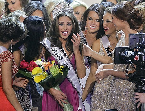 <p>AP Photo/Julie Jacobson Miss Rhode Island Olivia Culpo is surrounded by fellow contestants after being crowned Miss USA during the 2012 Miss USA pageant, Sunday in Las Vegas.</p>