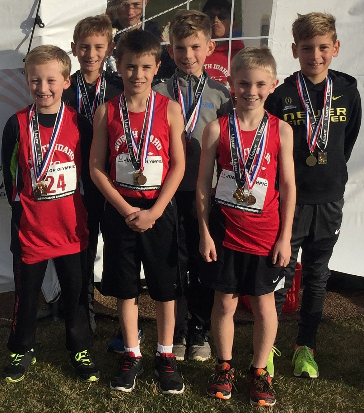 <p>Courtesy photo</p><p>The North Idaho Cross Country boys age 9-10 team placed first at the USA Track and Field Junior Olympic Cross Country Inland Northwest District finals in Mead, Wash., on Saturday. They ran a 3,000-meter course (1.86 miles) with a team time of 1 hour, 1 minute, 20.31 seconds. In the front row from left are Alex Jones (7th, 12:59.22), Lars Bazler (12th, 13:34.45) and Zach Anderson (6th, 12:52.31); and back row from left, Max Cervi-Skinner (5th, 12:13.30), Lachlan May (4th, 12:00.29) and Zack Cervi-Skinner (1st, 11:17.20).</p>