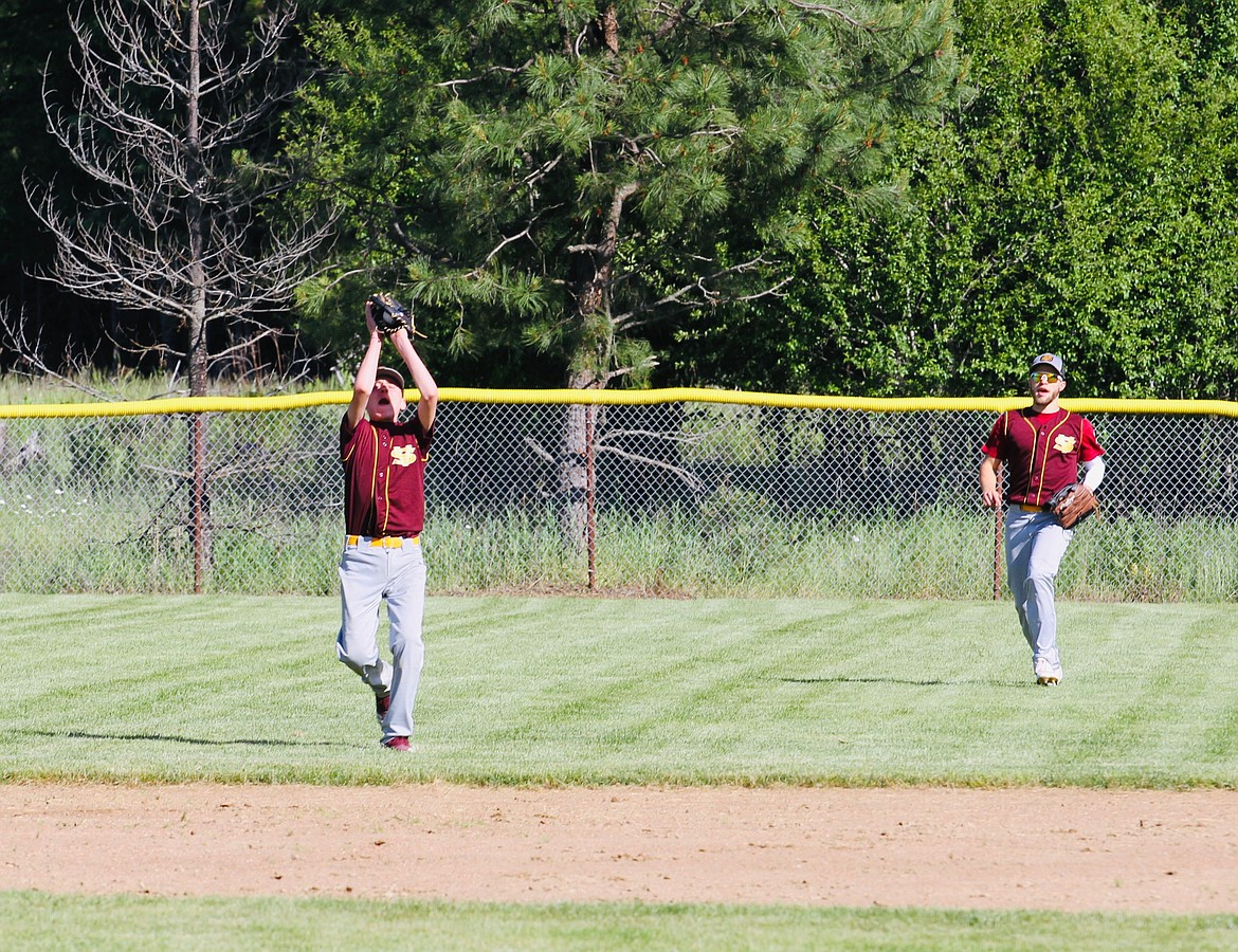 Reed Whatcott makes an inning-ending catch on a pop fly.
