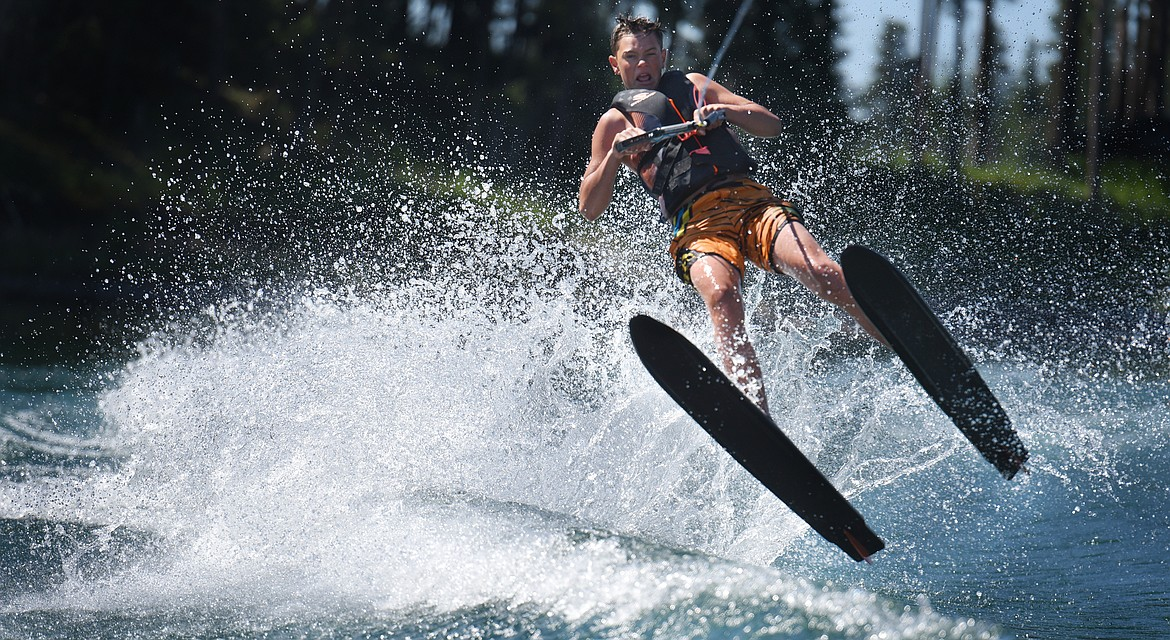 First time water skier Ashten Nelson takes to the air during his recent lesson.