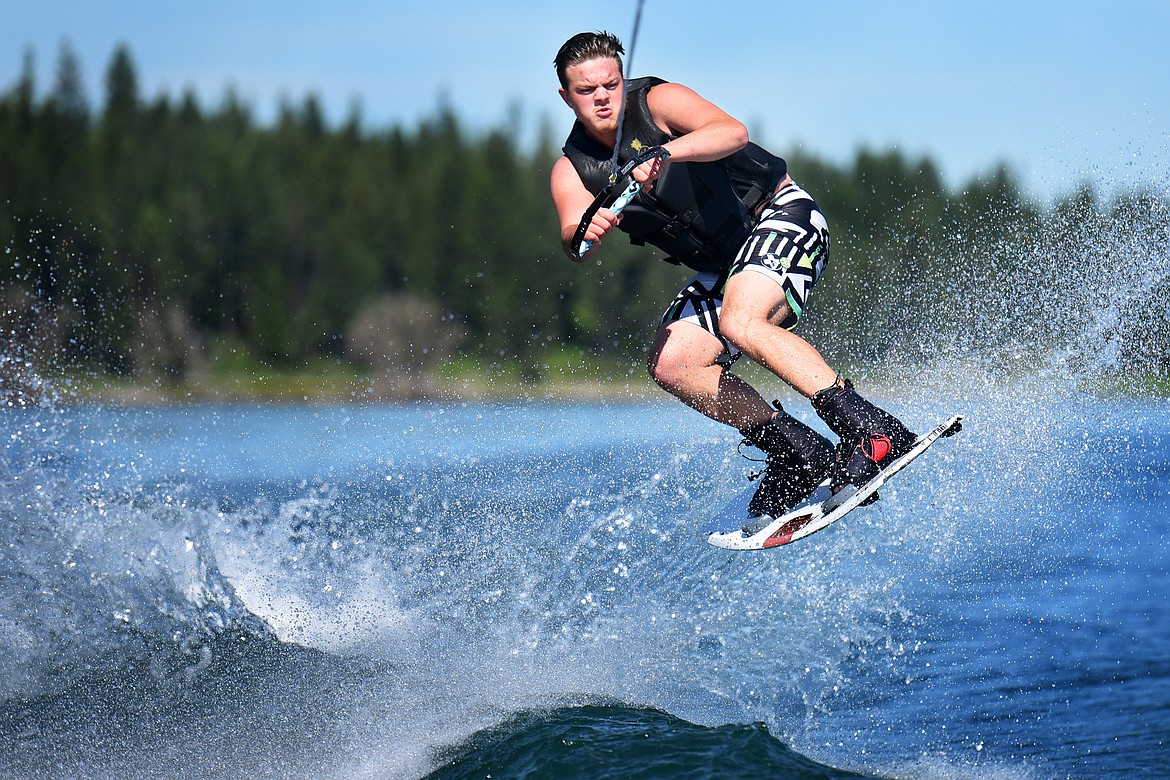 Kalispell's Kaden Nelson grabs some air while out with Flathead Wakeboard Academy.