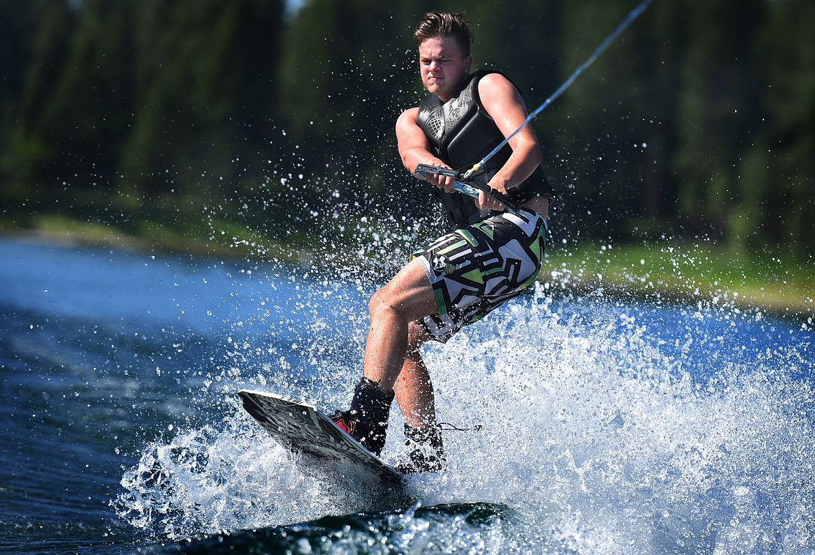Kalispell's Kaden Nelson enjoys his time on Echo Lake with the Flathead Wakeboard Academy. (Jeremy Weber/Bigfork Eagle)