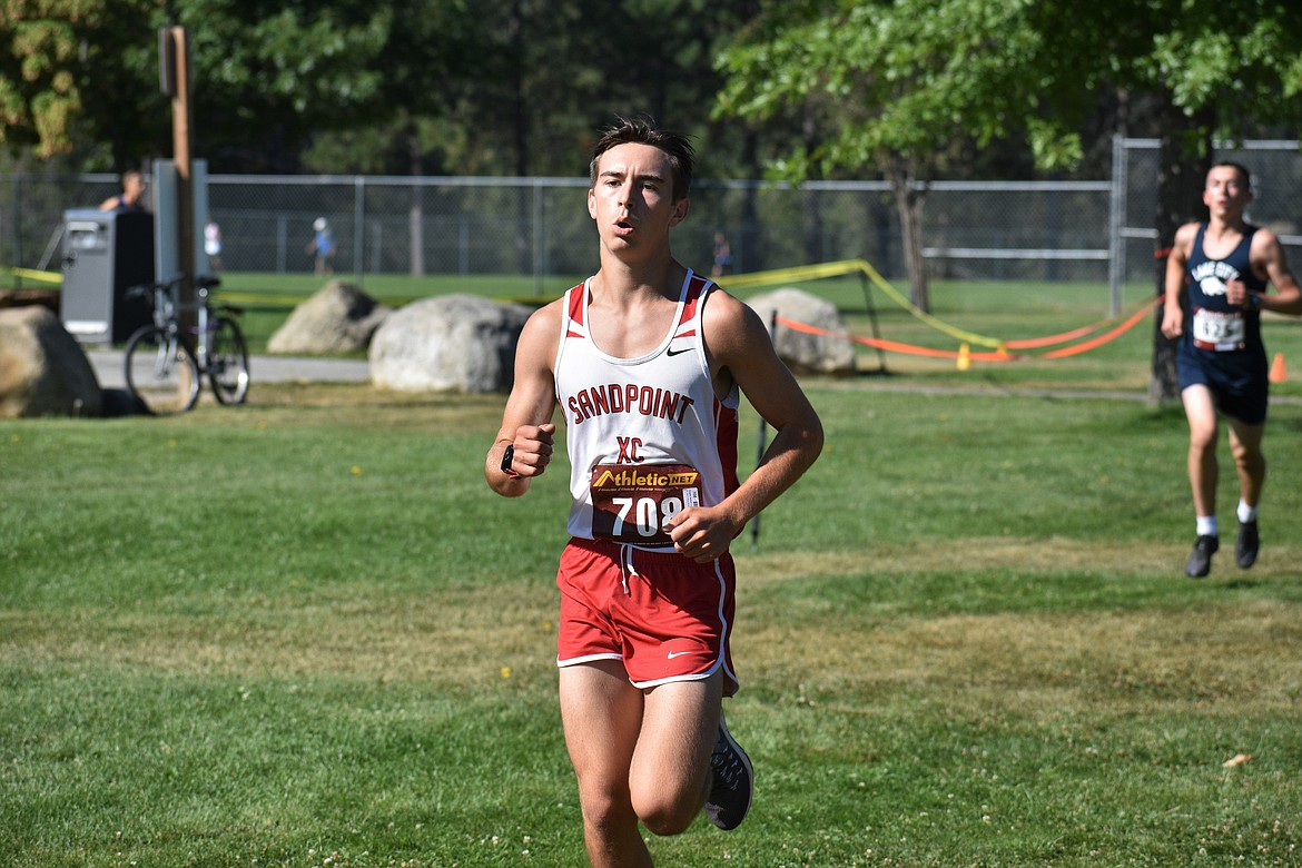 Senior Keegan Nelson competes in Friday's meet at Travers Park.