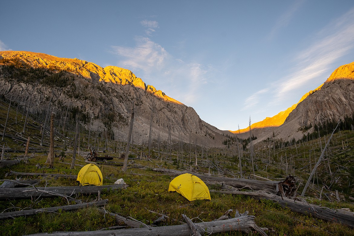 A high country camp in the Bob Marshall Wilderness.