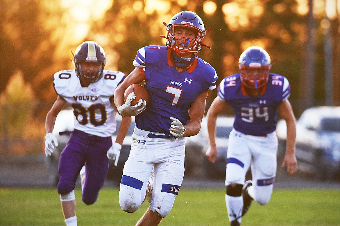 Cormac Benn charges down the field during the Viking's Sept. 4 game against Cutbank.