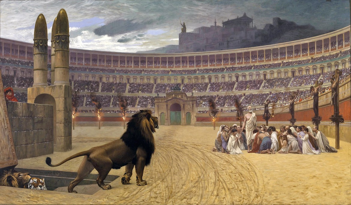 """""""The Christian Martyrs' Last Prayer"""" by Jean-Léon Gérôme (1883), this painting depicting details from several possible locations."""