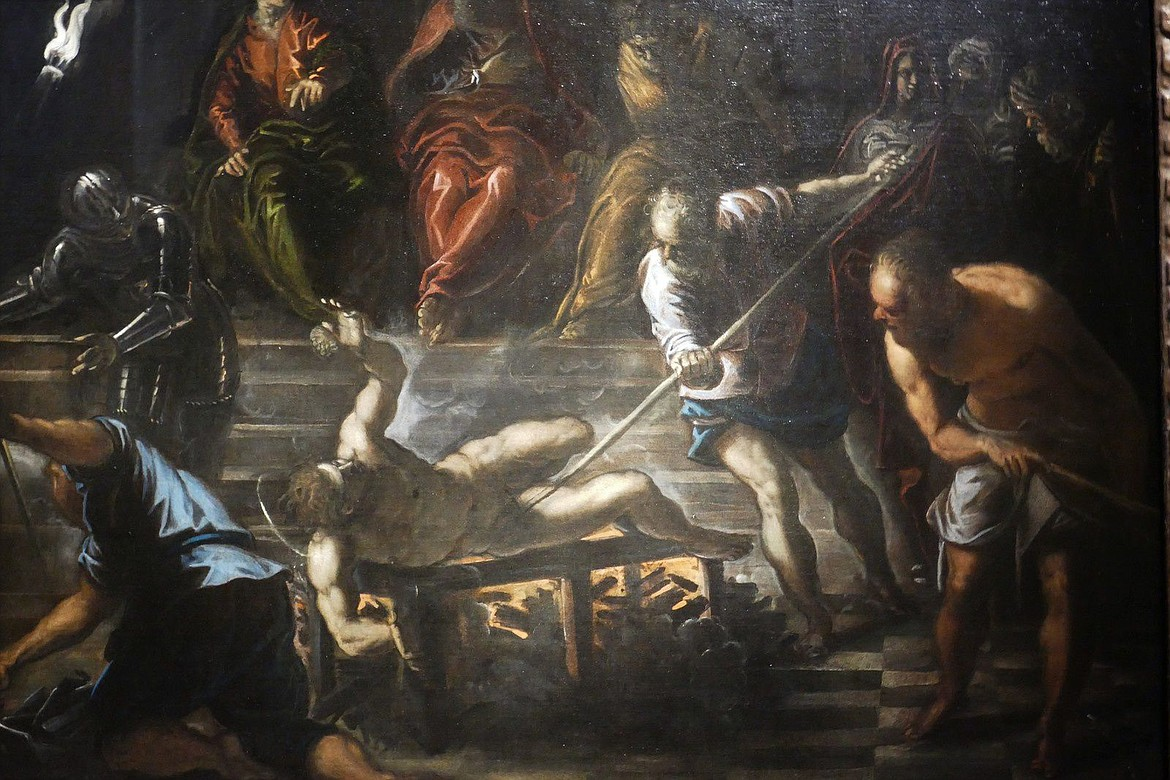 Painting by Tintoretto of St. Lawrence being martyred on a fire grill order by Roman Emperor Valerian (253-260 A.D.) in persecuting Christians.