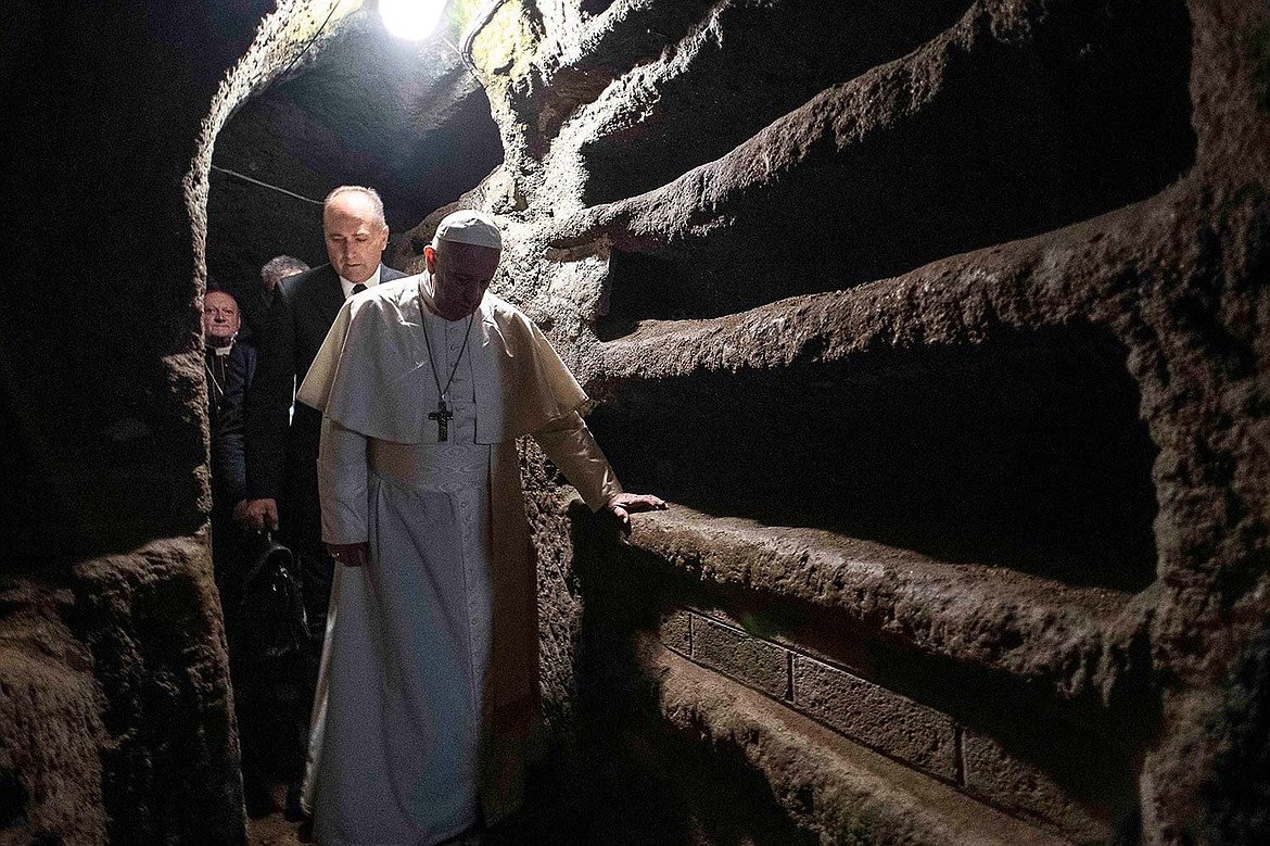 Pope Francis visiting Pricilla Catacomb in Rome to celebrate Mass and pray for Christians worldwide who are under persecution and have to worship in secret (2019).