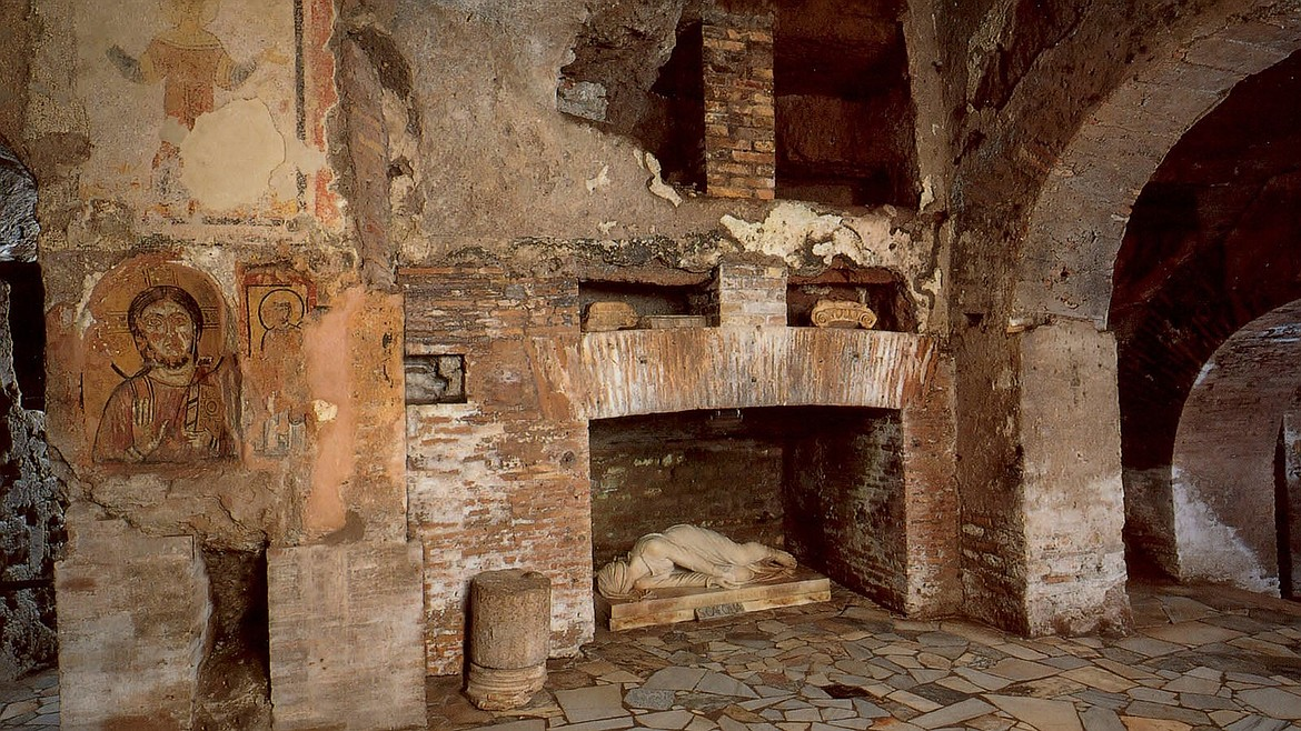 Tomb of Santa Cecilia in the Catacombs of St. Callixtus in Rome where half a million Christians, martyrs and 16 popes are buried, as well as St. Cecilia, patron saint of musicians, whose remains were moved to Santa Cecilia in Trastevere in central Rome in 821 A.D.