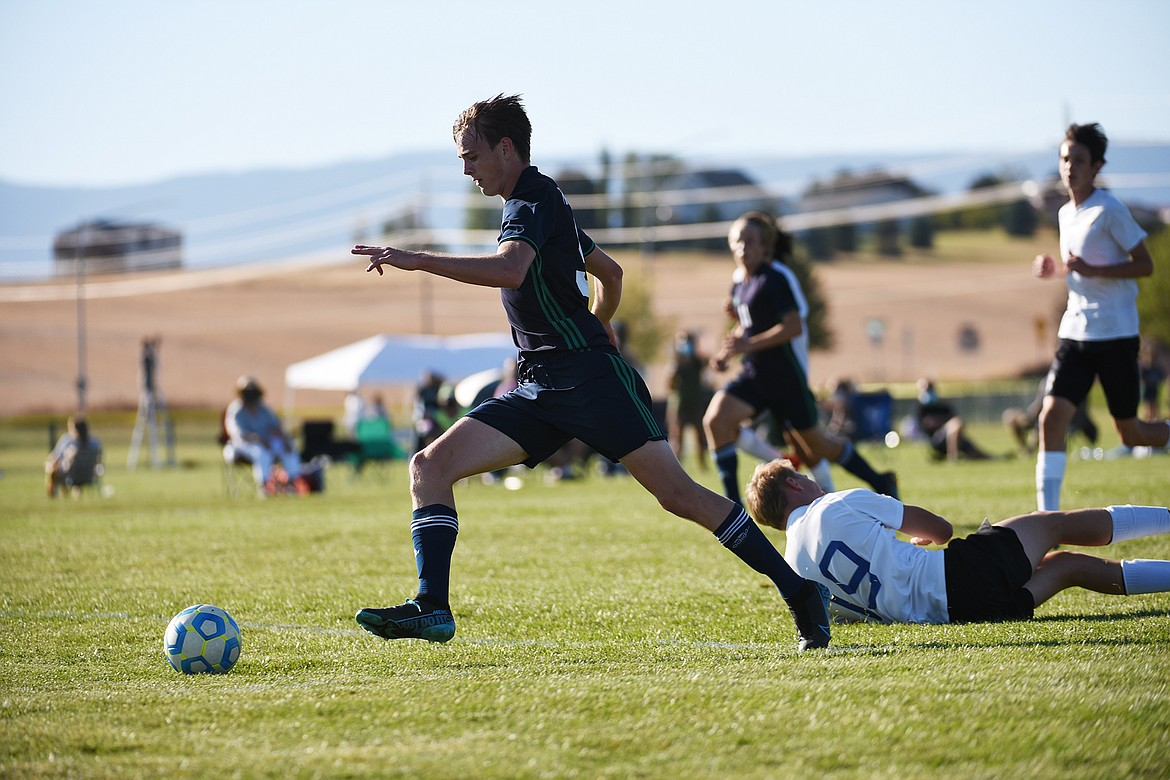 Glacier's Daniel Camp (9) scores his second goal of the first half against Missoula Big Sky at Glacier High School on Thursday. (Casey Kreider/Daily Inter Lake)