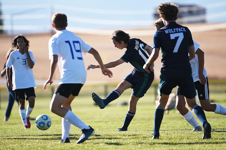 Glacier's Zane Elliott (10) looks to shoot in the first half against Missoula Big Sky at Glacier High School on Thursday. (Casey Kreider/Daily Inter Lake)