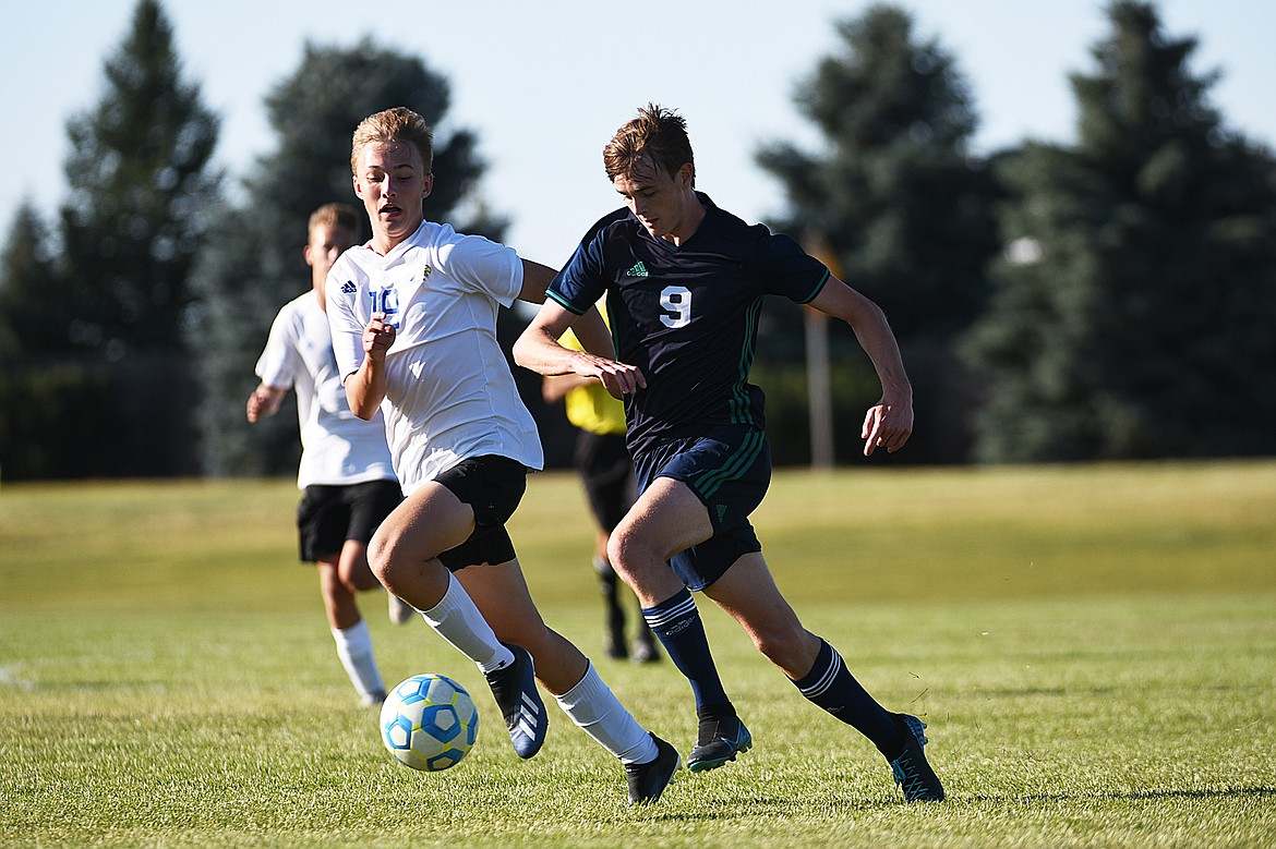 Glacier's Daniel Camp (9) makes a run into the Big Sky zone before scoring his second goal of the first half at Glacier High School on Thursday. (Casey Kreider/Daily Inter Lake)