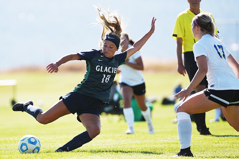 Glacier's Madison Becker (18) looks to shoot against Missoula Big Sky at Glacier High School on Thursday. (Casey Kreider/Daily Inter Lake)