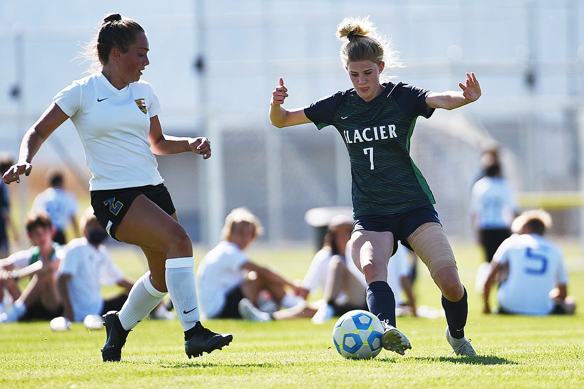 Glacier's Reese Leichtfuss (7) moves the ball upfield against Missoula Big Sky at Glacier High School on Thursday. (Casey Kreider/Daily Inter Lake)