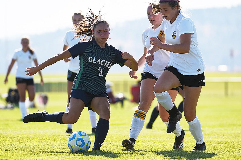 Glacier's Ady Powell (9) looks to shoot against Missoula Big Sky at Glacier High School on Thursday. (Casey Kreider/Daily Inter Lake)