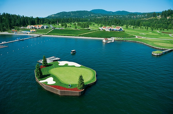 This aerial shot shows a prime destination for golfers: the Floating Green at The Coeur d'Alene Resort Golf Course. The upcoming virtual Idaho Conference on Recreation and Tourism will assist travel and tourism professionals as they prepare roadmaps to recovery in the aftermath of COVID-19 shutdowns.