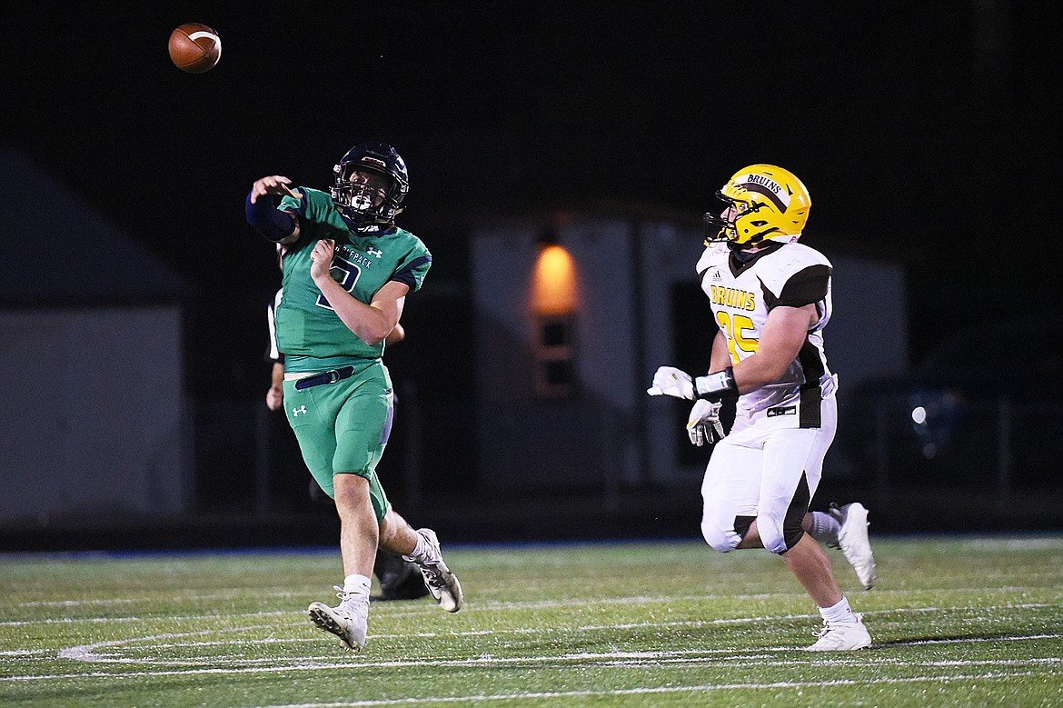 Glacier quarterback JT Allen (3) throws on the run in the third quarter against Helena Capital at Legends Stadium on Friday. (Casey Kreider/Daily Inter Lake)