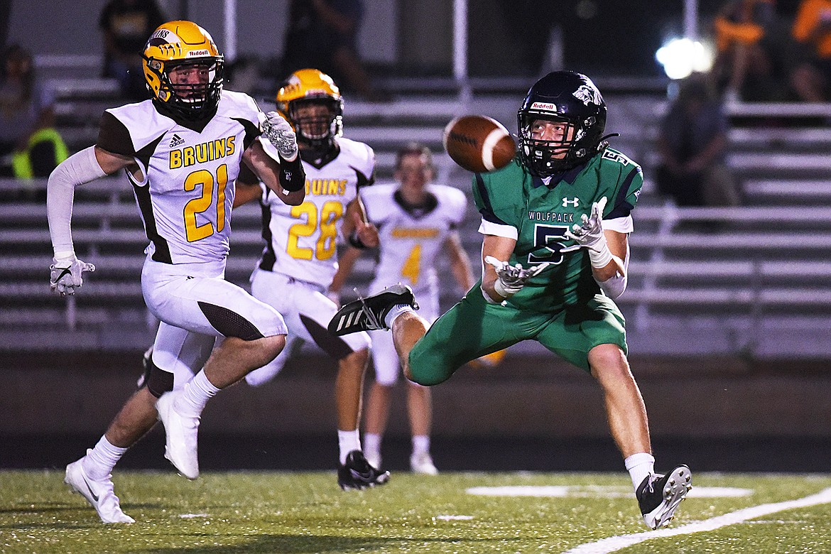 Glacier wide receiver Cole Johnson (5) can't hold on to a third quarter reception against Helena Capital at Legends Stadium on Friday. (Casey Kreider/Daily Inter Lake)