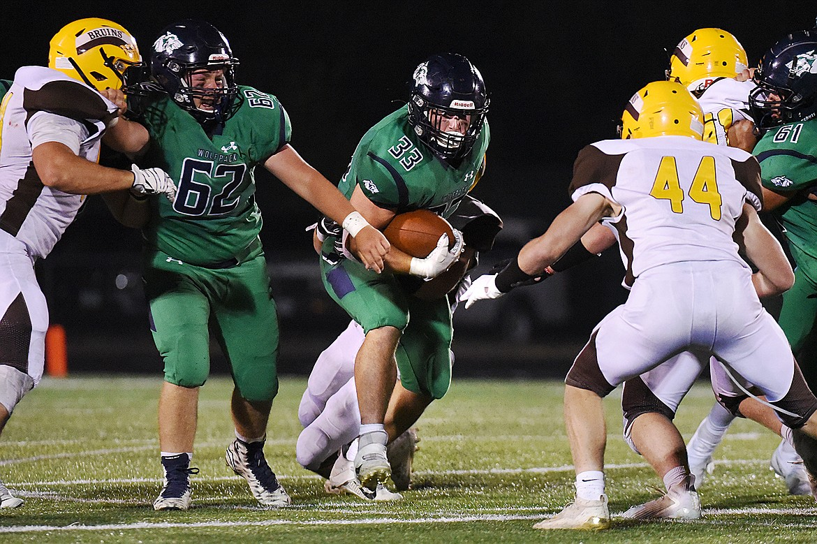 Glacier running back Jake Rendina (33) looks for room to run in the third quarter against Helena Capital at Legends Stadium on Friday. (Casey Kreider/Daily Inter Lake)