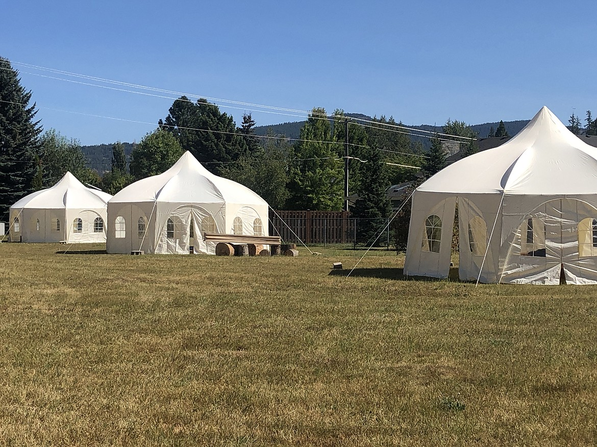 A few of the octogonal-shaped tents being used by Sandpoint Waldorf School after the school moved most of its classrooms outside to limit the spread of COVID-19.
