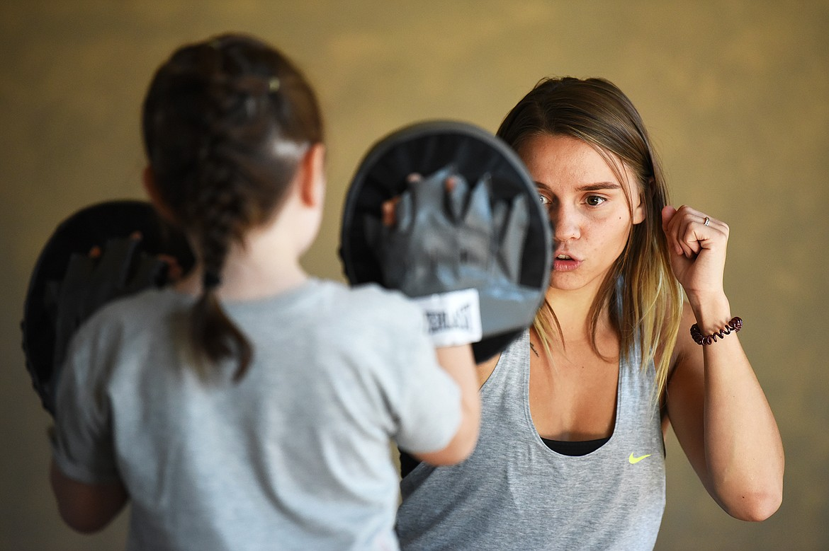 Renee Sandlin works on striking techniques in one of her youth classes at Mighty Mouse Muay Thai in Columbia Falls on Wednesday, Sept. 9. (Casey Kreider/Daily Inter Lake)