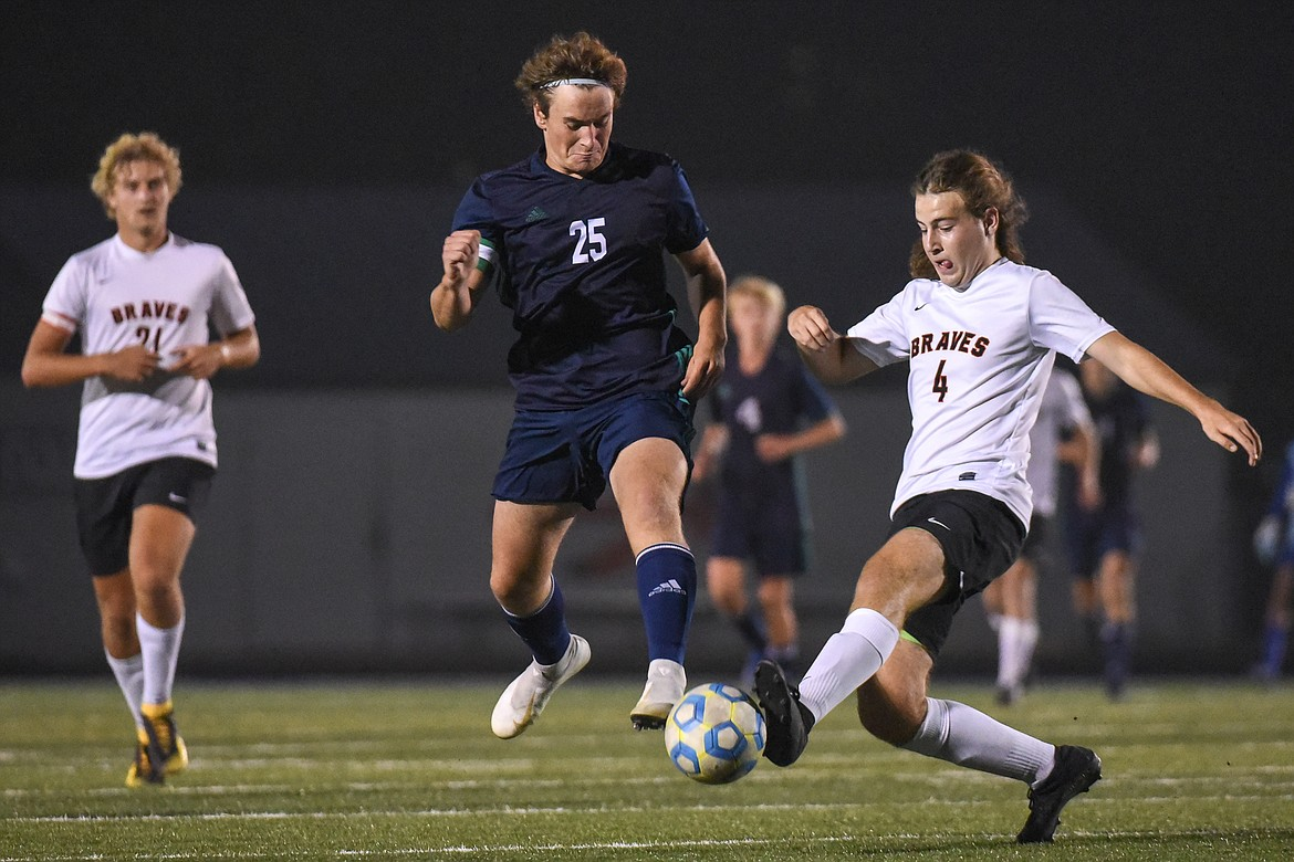 Glacier's Braden Nitschelm (25) and Flathead's Aiden Christy (4) battle for possession during crosstown soccer at Legends Stadium on Tuesday. (Casey Kreider/Daily Inter Lake)