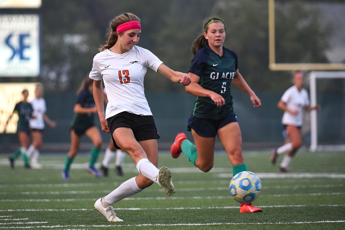 Flathead's Tessa Smith (13) looks to shoot against Glacier during crosstown soccer at Legends Stadium on Tuesday. (Casey Kreider/Daily Inter Lake)