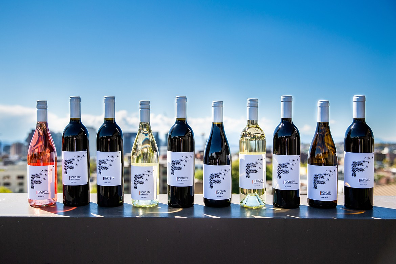 Bottles of Fortuity Cellars wine.