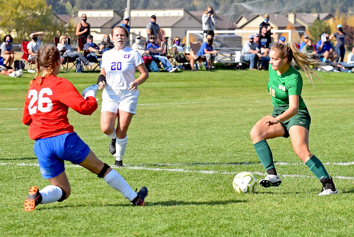 Whitefish senior Ali Hirsch drives toward the goal in a game against Columbia Falls at Smith Fields on Saturday. (Whitney England/Whitefish Pilot)