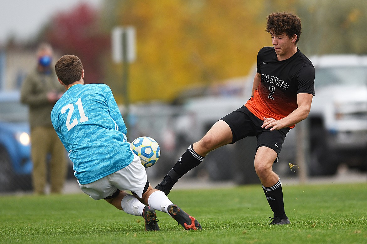 Flathead's Kelvin Pandina (2) has a shot stopped by Butte goalkeeper Joe Schrader (21) in the first half at Kidsports Complex on Saturday. (Casey Kreider/Daily Inter Lake)
