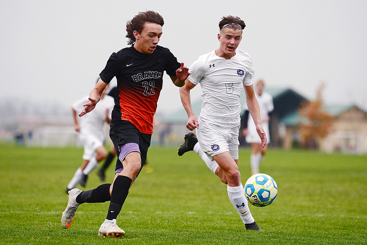 Flathead's Dakota Holmes (22) pushes the ball towards the Butte goal in the second half at Kidsports Complex on Saturday. (Casey Kreider/Daily Inter Lake)