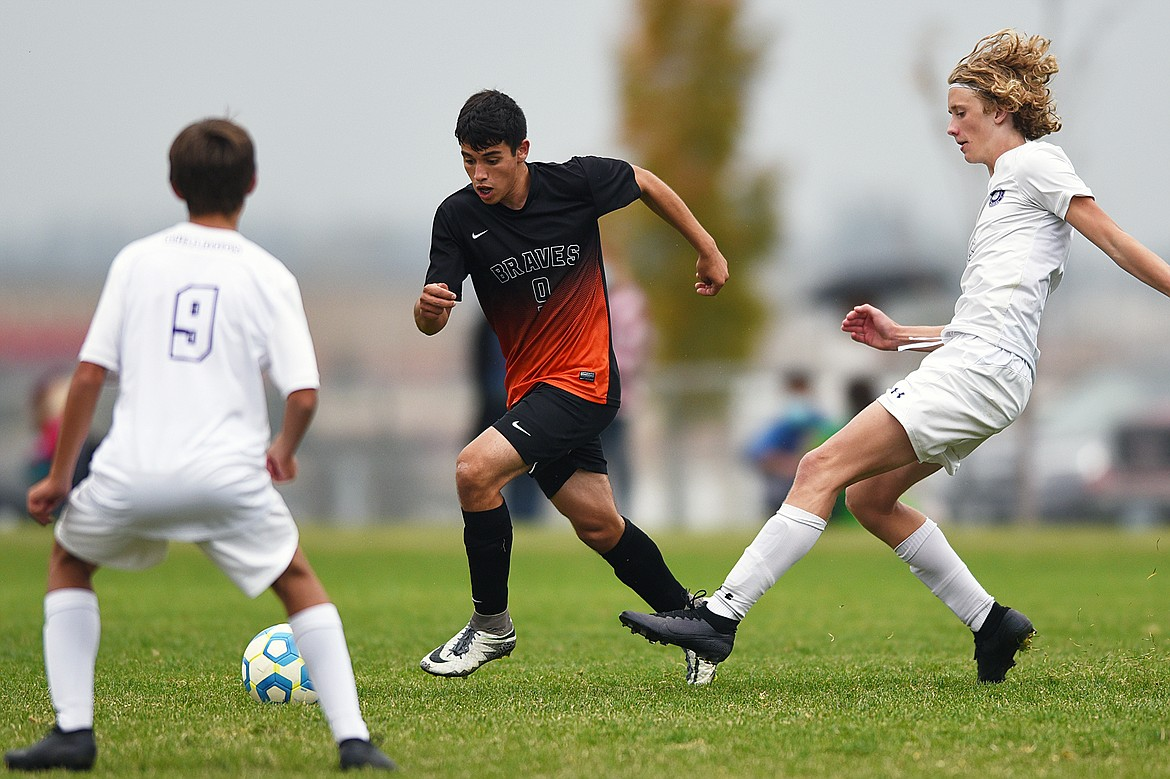Flathead's Arsen Sokolov (9) pushes the ball upfield against Butte in the second half at Kidsports Complex on Saturday. (Casey Kreider/Daily Inter Lake)