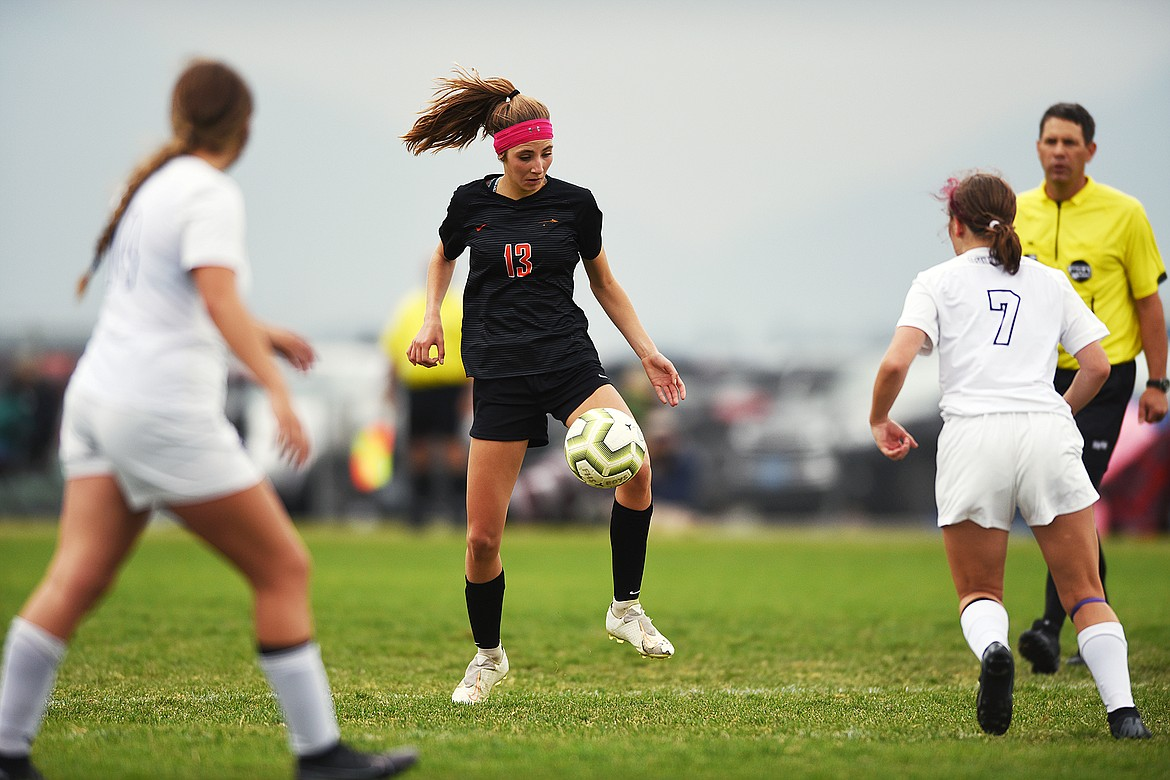 Flathead's Tessa Smith (13) controls the ball in the first half against Butte at Kidsports Complex on Saturday. (Casey Kreider/Daily Inter Lake)
