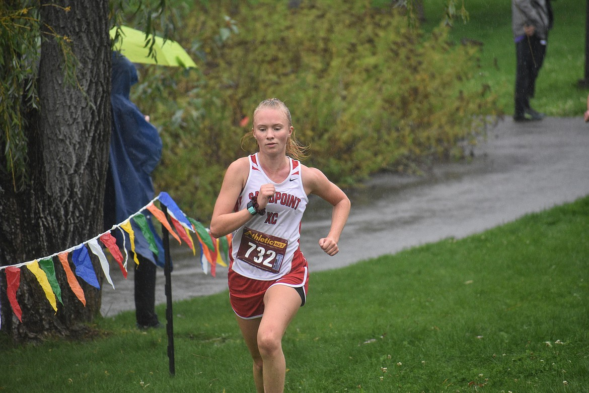 Junior Mackenzie Suhy-Gregoire runs in Saturday's William Johnson Sandpoint Invitational.