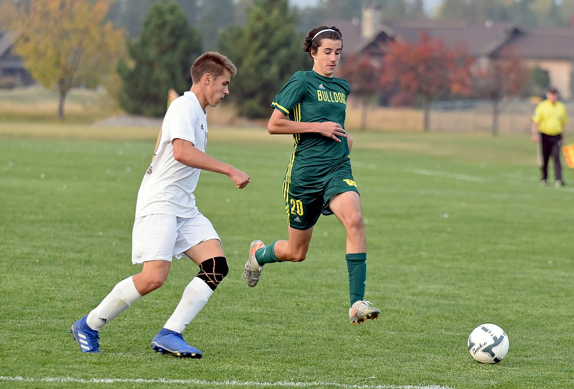 Whitefish midfielder Ford Thompson takes the ball into the Pirates box during a game against Polson at Smith Fields on Thursday, Oct. 8. (Whitney England/Whitefish Pilot)