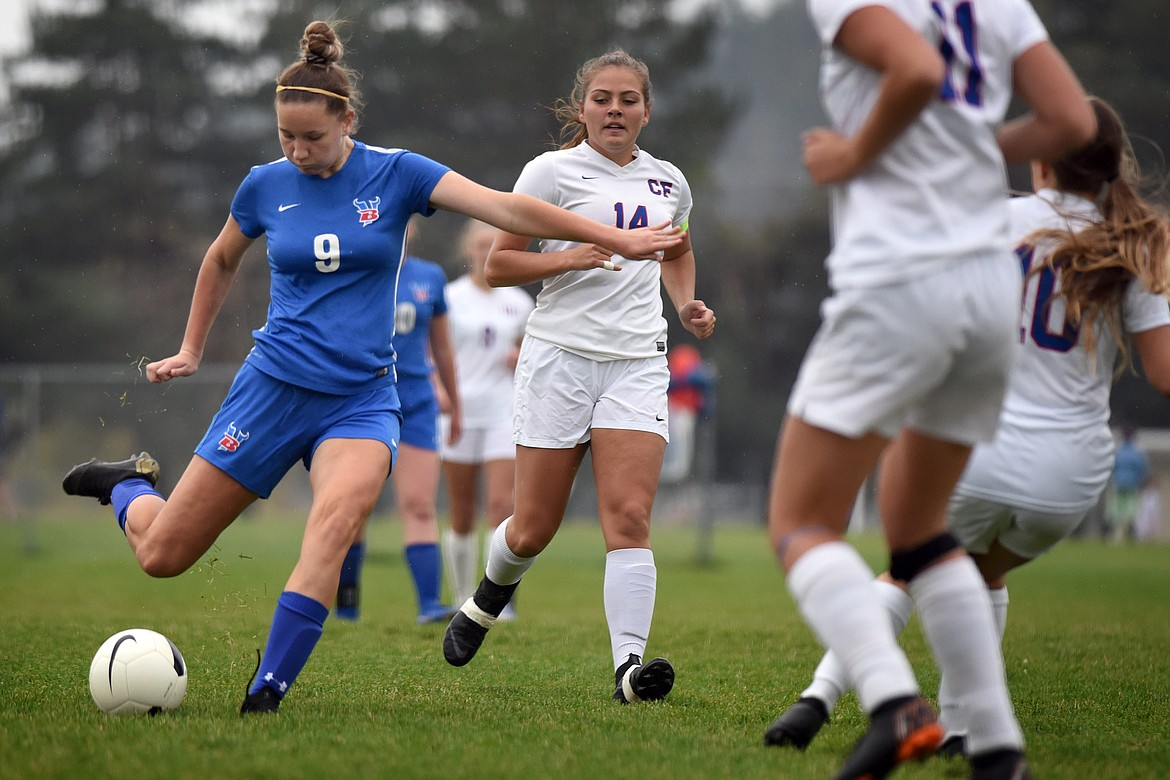 Brette Guenzler takes a shot for the Valkyries against Columbia Falls Saturday. Jeremy Weber/Bigfork Eagle