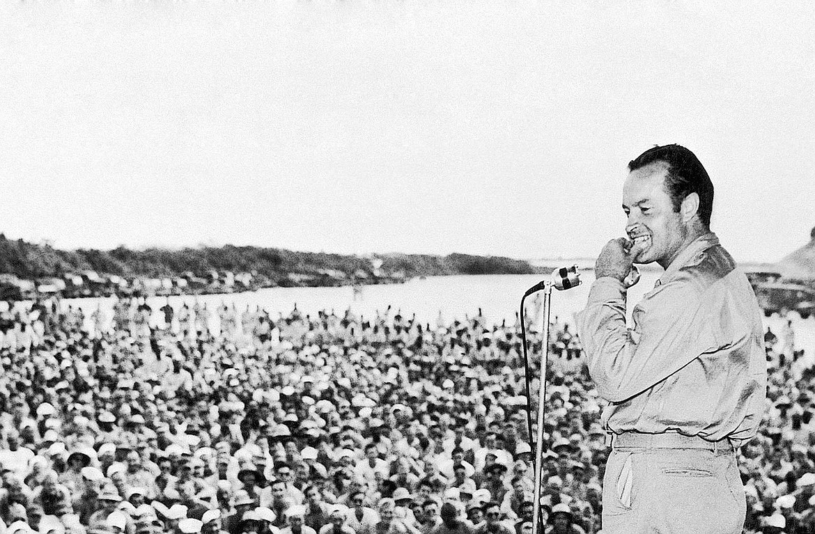 Bob Hope entertaining troops was broadcast over Armed Forces Radio.