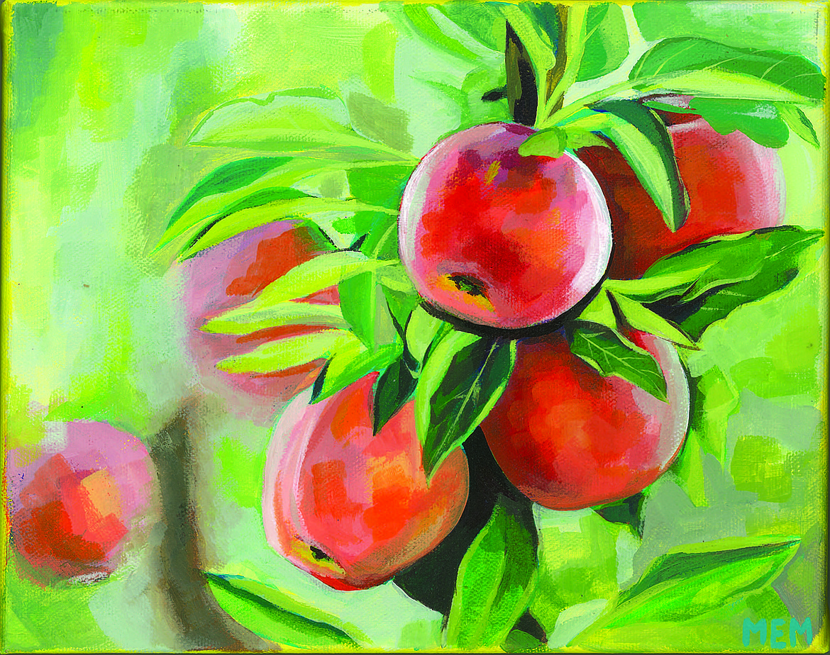 Margot Massey of Kamiakin High School won third-place with this drawing in the 2020 Washington Apple Education Foundation apple art contest.