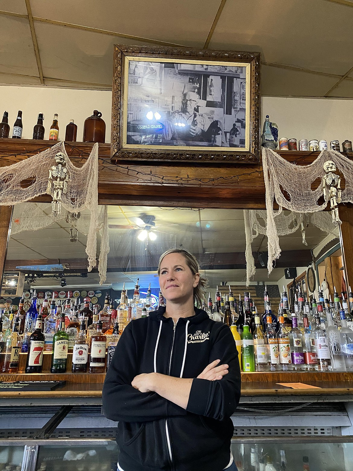 Whitney Haruza has owned One Shot Charlie's, a local Harrison bar and restaurant since 2021, but the building has been a key feature of the city since 1949. (MADISON HARDY/Press)