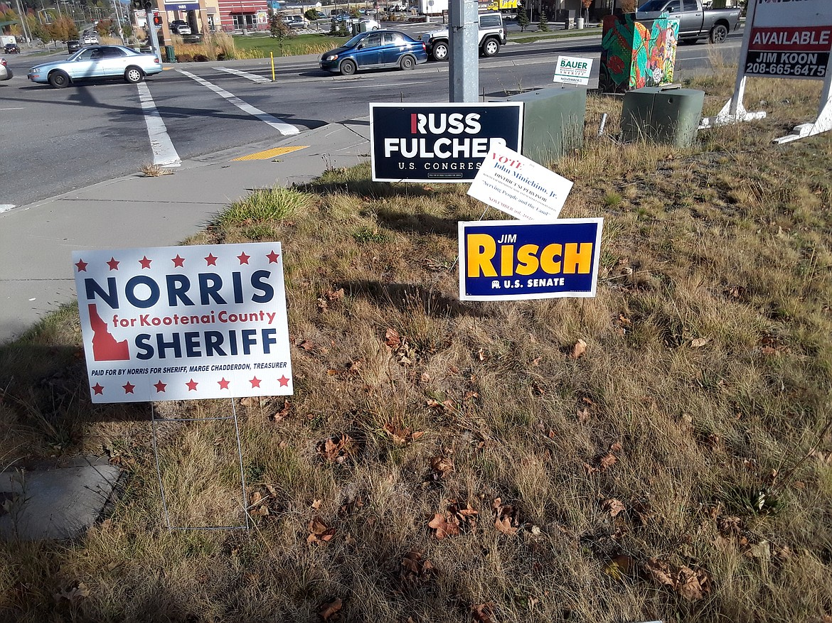 This time of year, political yard signs multiply along high-profile intersections, like this gaggle of campaign signs at the corner of Appleway and Ramsey in Coeur d'Alene.