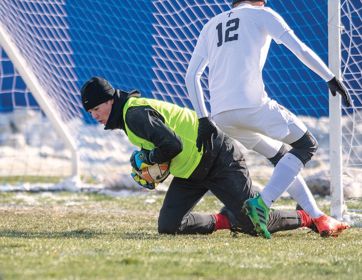 Columbia Falls keeper Bryce Dunham had some great saves against Central.