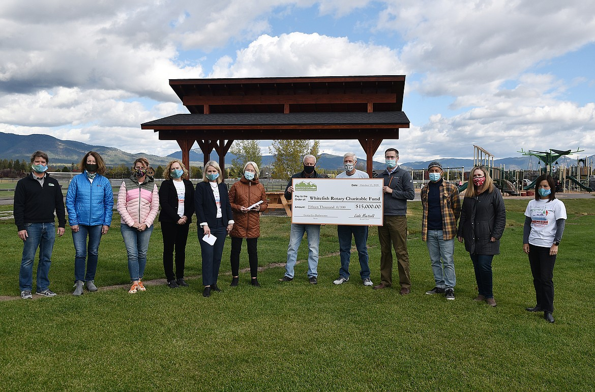 """The Whitefish Community Foundation Board of Directors recently awarded a $15,000 Major Grant to theWhitefish Rotary Charitable Fund for its """"Gotta Go Bathrooms"""" project, aimed at bringing ADA-accessible restrooms to the new playground and pavilion area at Smith Fields. (Heidi Desch/Whitefish Pilot)"""