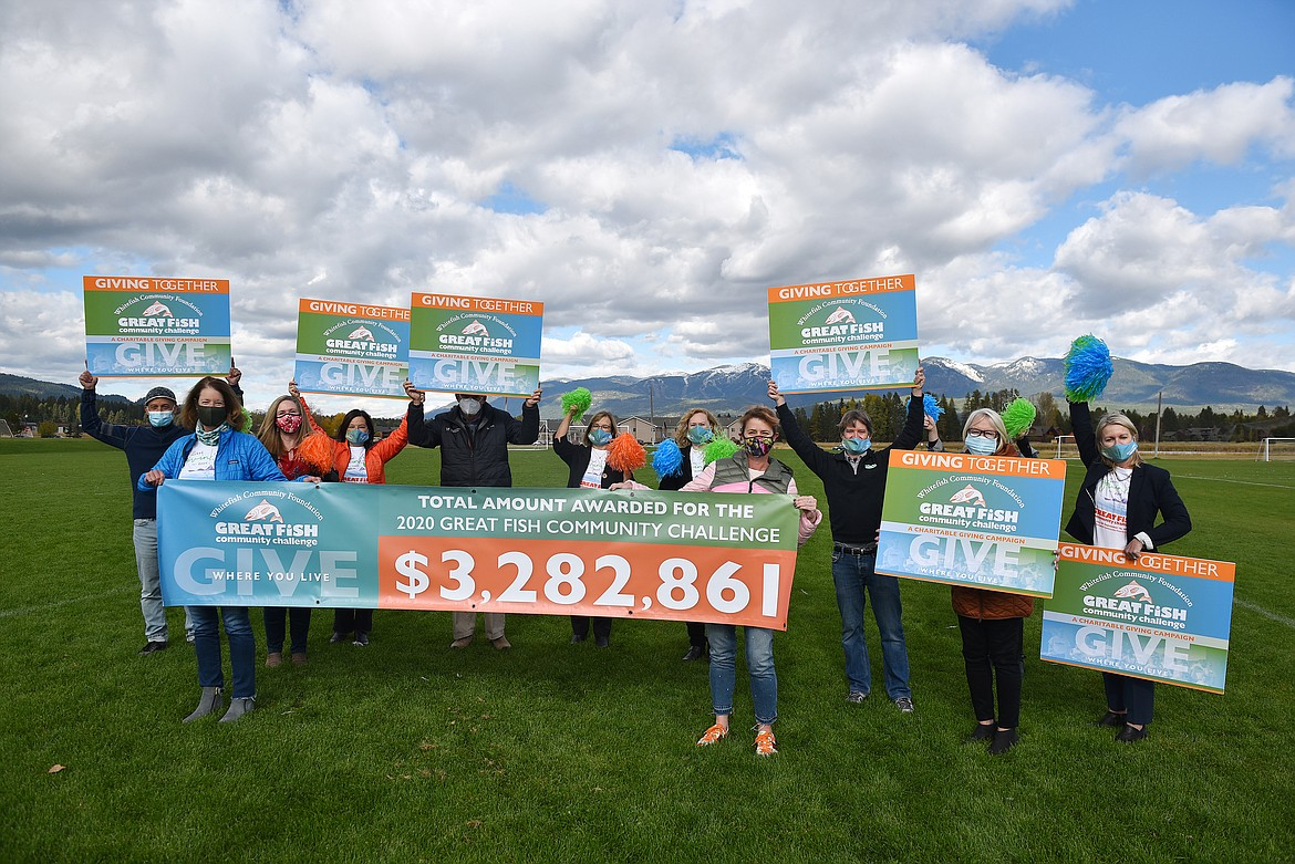 Whitefish Community Foundation board members and staff announce the total of more than $3.2 million awarded to nonprofits for the 2020 Great Fish Community Challenge. (Heidi Desch/Whitefish Pilot)