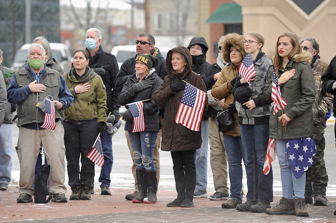 People gather at Depot Park in Kalispell for a Veterans Day ceremony on Wednesday, Nov. 11. (Matt Baldwin/Daily Inter Lake)