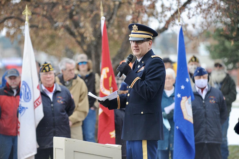 Maj. Erik Oberg addresses the crowd at a Veterans Day ceremony Wednesday, Nov. 11, at Depot Park in Kalispell. (Matt Baldwin/Daily Inter Lake)