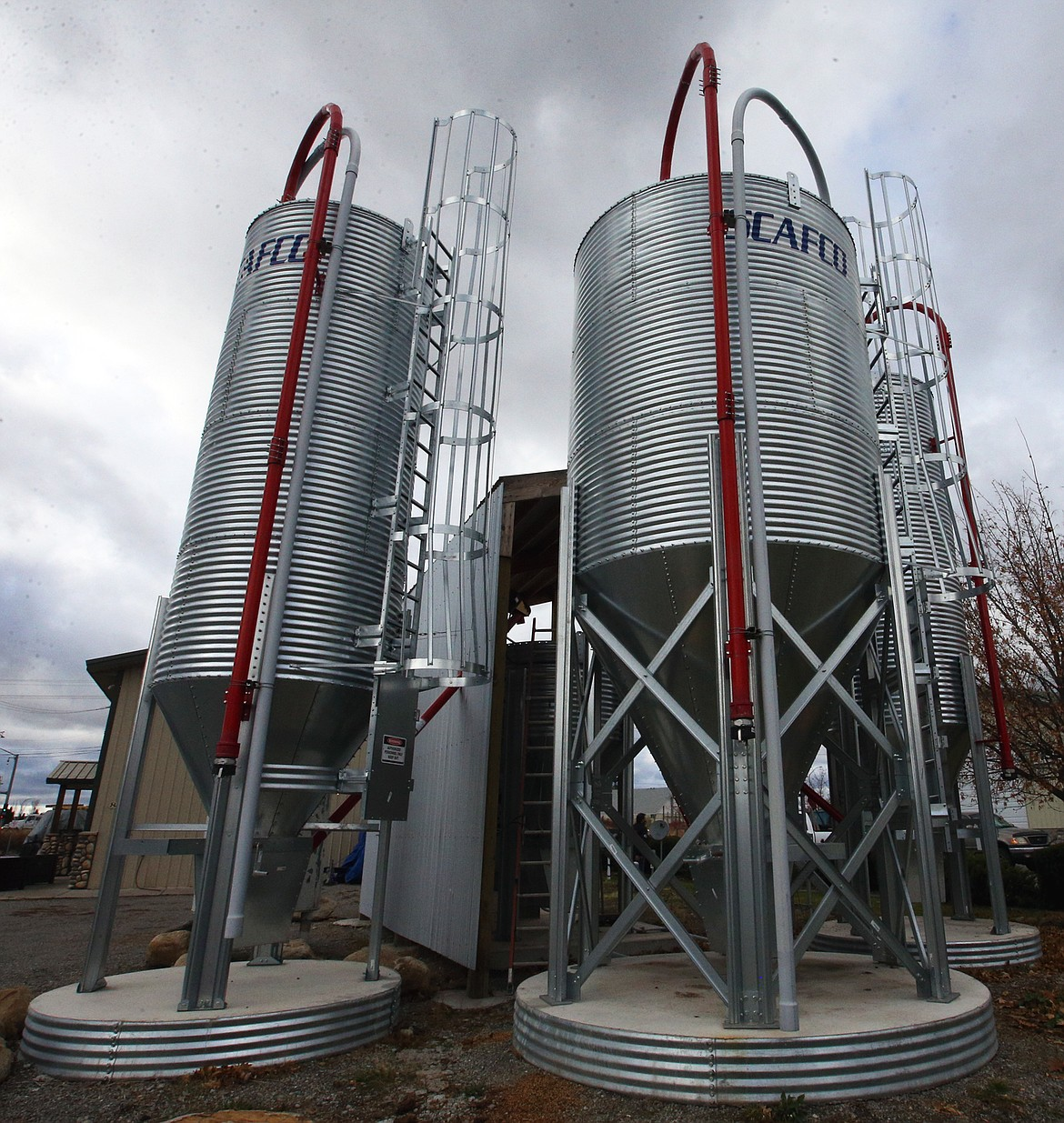 The silos stand tall outside Up North Distillery.