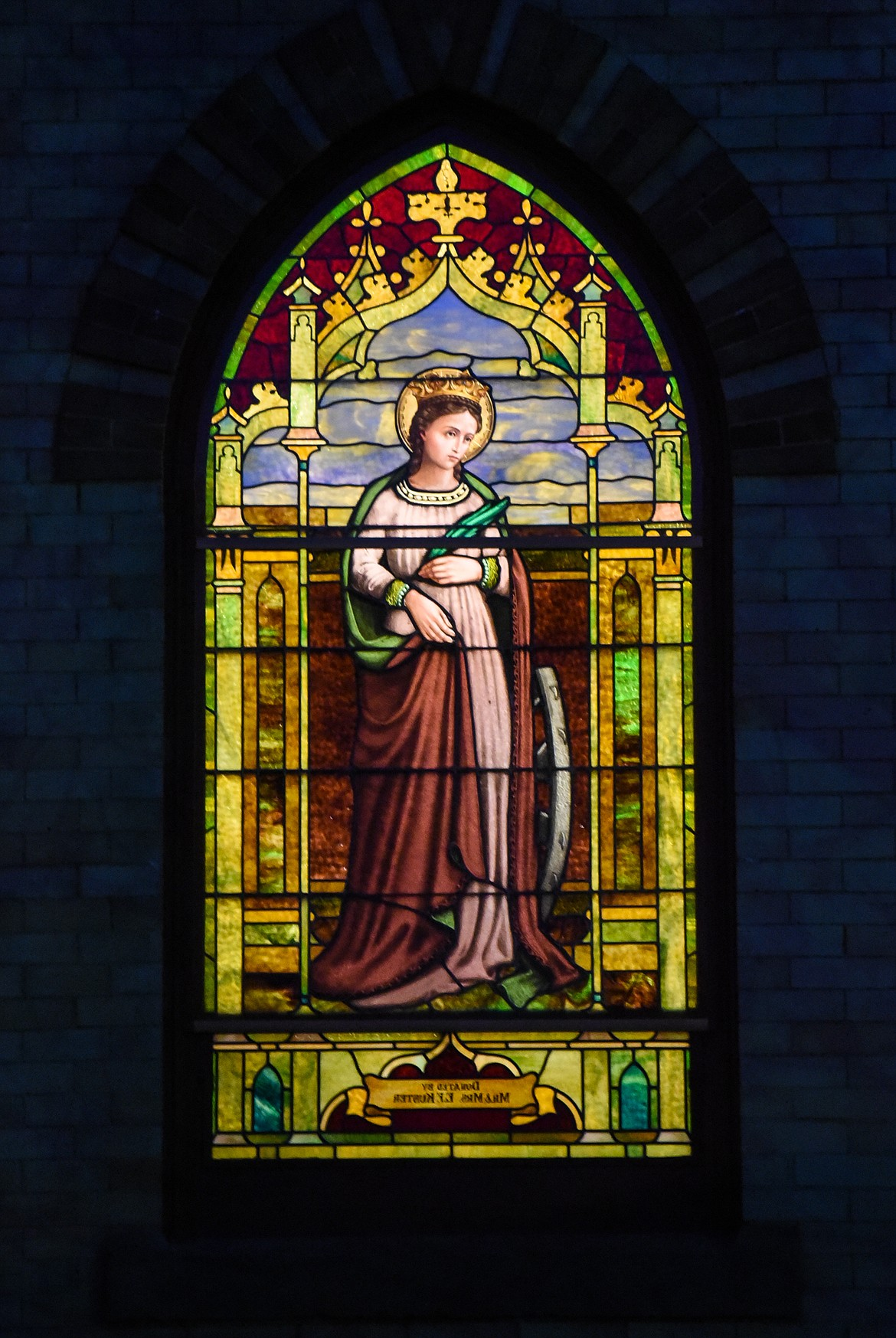 Detail of a stained glass window at St. Matthew's Catholic Church in Kalispell on Saturday, Nov. 21. (Casey Kreider/Daily Inter Lake)